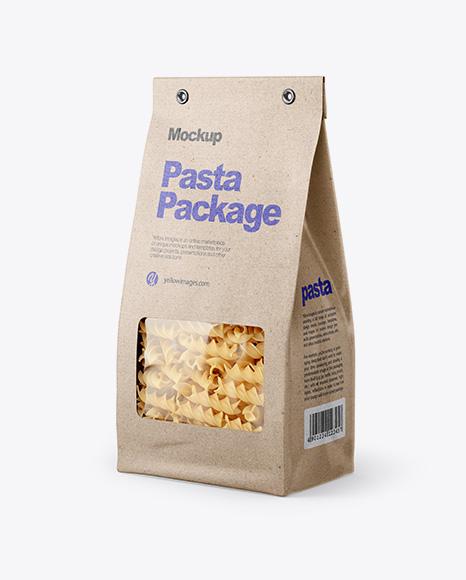 Kraft Bag with Fusilli Pasta Mockup - Half Side View