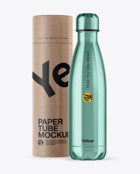 500ml Stainless Steel Bottle with Kraft Tube Mockup