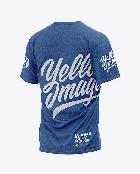 Men's Heather Loose Fit T-Shirt - Back Half-Side View