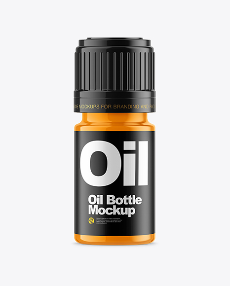 Glossy Small Oil Bottle Mockup