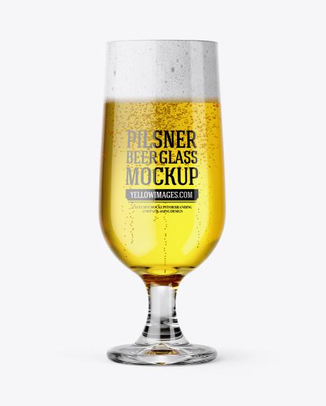 Embassy Glass with Pilsner Beer Mockup