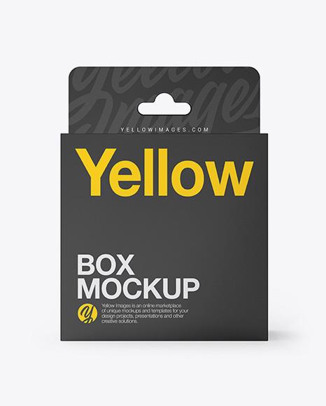 Glossy Paper Box with Hang Tab Mockup - Front View
