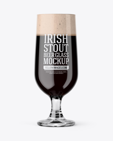 Embassy Glass with Irish Stout Beer Mockup