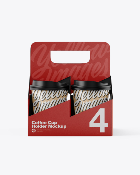 Matte Coffee Cup Holder W/ Kraft Cups Mockup - Front View