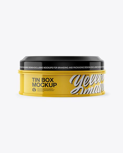 Glossy Round Tin Box Mockup - Front View