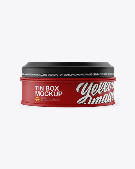 Matte Round Tin Box Mockup - Front View