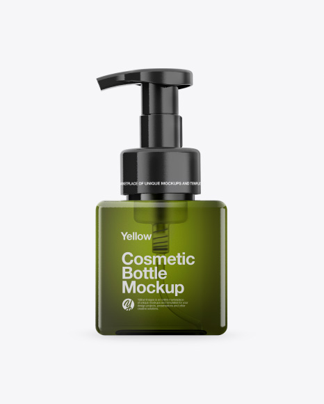 Green Cosmetic Bottle Mockup - Front View