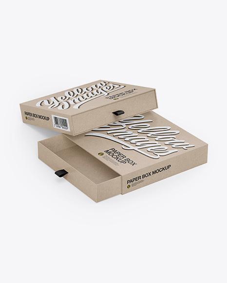 Two Kraft Slide Boxes Mockup - Half Side View