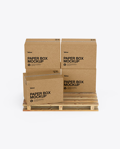 Wooden Pallet With 5 Kraft Boxes Mockup - Front View