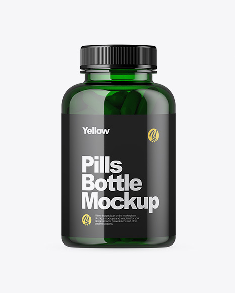 Green Pills Bottle Mockup