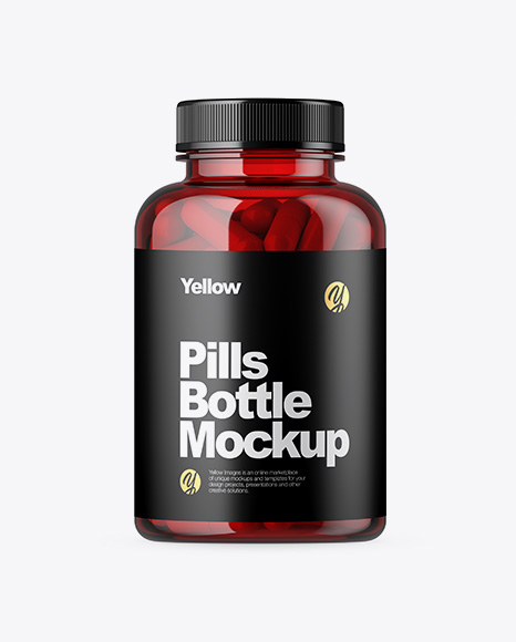 Red Plastic Pills Bottle Mockup
