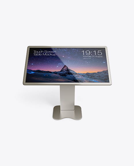 Metallic Touch Screen Display Table Mockup - Front View