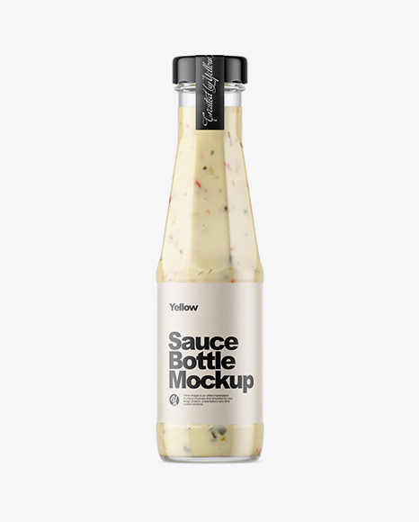 Clear Glass Bottle with Garlic Sauce Mockup