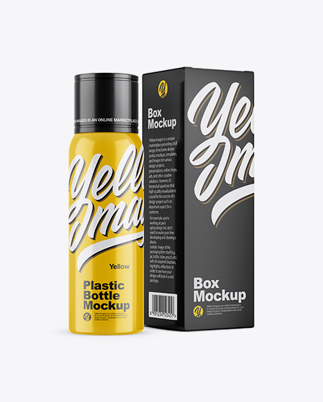 Glossy Plastic Bottle w/ Paper Box Mockup