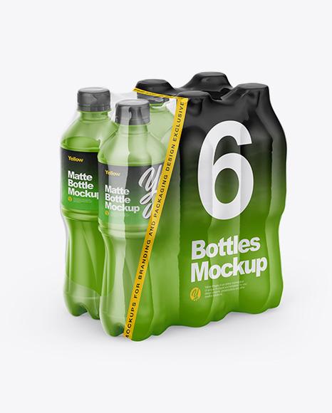 Transparent Shrink Pack with 6 Plastic Matte Bottles Mockup - Half Side View