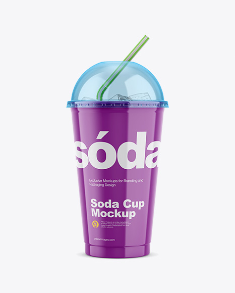 Glossy Plastic Soda Cup With Ice and Cap Mockup