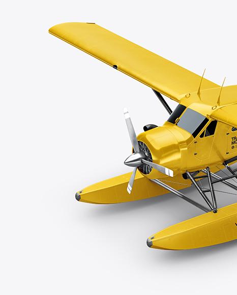 Seaplane Mockup - Half Side View (High-Angle Shot)