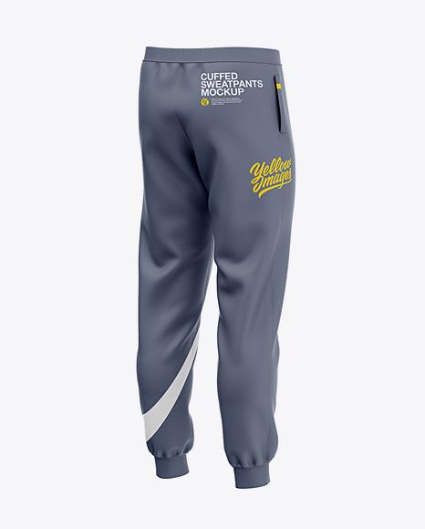 Men's Cuffed Sweatpants Mockup - Back Left Half-Side View