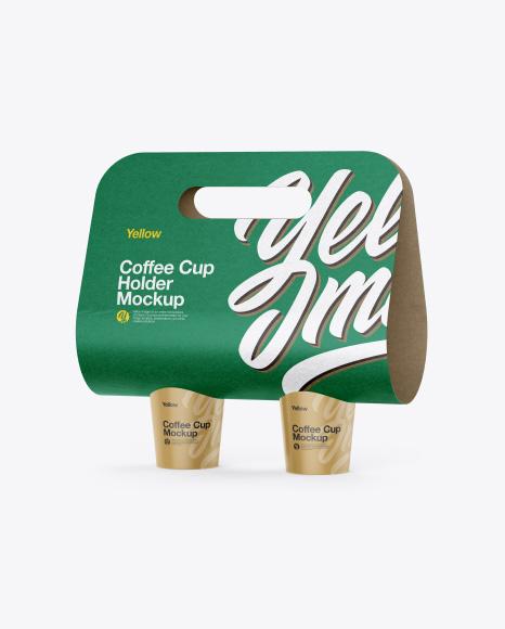 Coffee Cups Holder Mockup - Half Side View