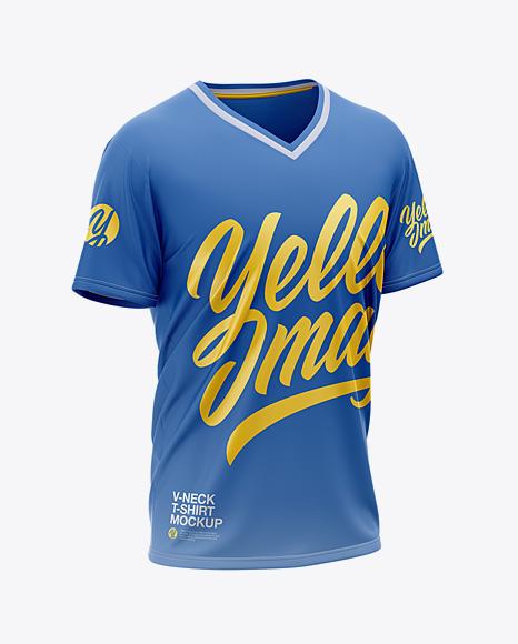 Men's Loose Fit V-Neck Graphic T-Shirt - Front Half-Side View