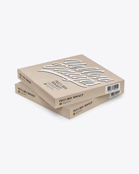 Two Pizza Kraft Boxes Mockup - Half Side View