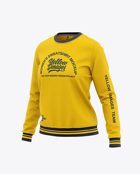 Women's Crew Neck Sweatshirt - Front Half Side View