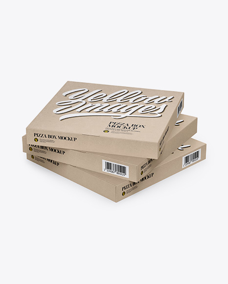 Three Pizza Kraft Boxes Mockup