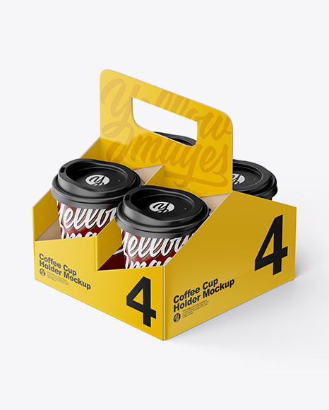 Matte Coffee Cup Holder W/ Matte Cups Mockup