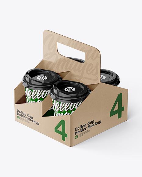 Kraft Coffee Cup Holder W/ Glossy Cups Mockup
