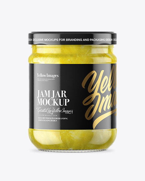 Clear Glass Lemon Jam Jar Mockup