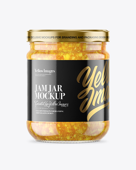 Clear Glass Orange Jam Jar Mockup