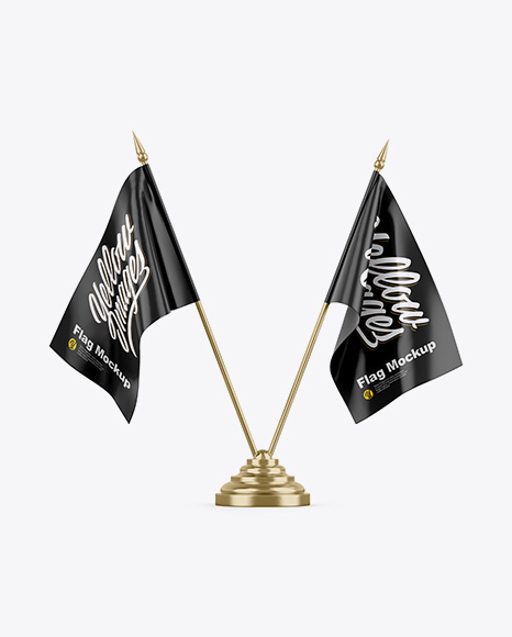 Satin Desk Flags Mockup