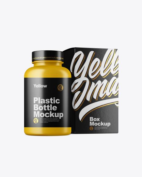 Matte Bottle w/ Paper Box Mockup