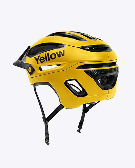 Cycling Helmet Mockup - Back Half Side View