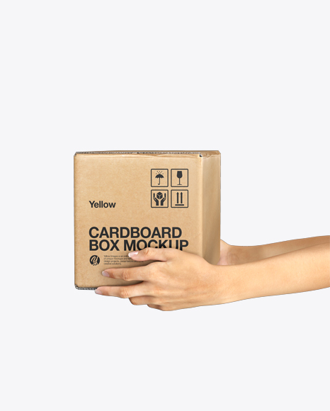 Cardboard Box with Hands Mockup