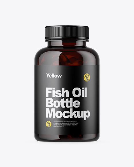Dark Amber Bottle with Fish Oil Mockup
