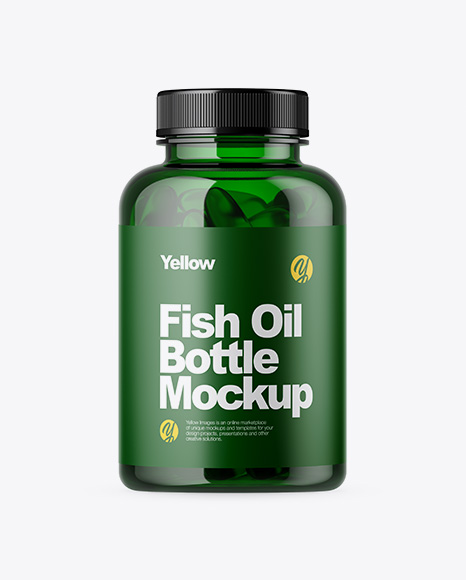 Green Bottle with Fish Oil Packaging Mockups