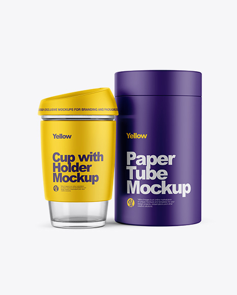 Cup with Holder & Matte Tube Mockup