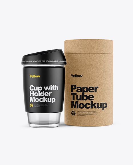 Cup with Holder & Kraft Tube Mockup