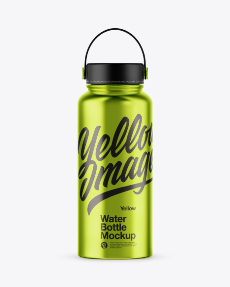 Metallic Wide-Mouth Water Bottle Mockup