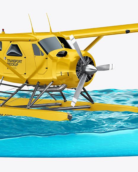 Seaplane On Water Mockup