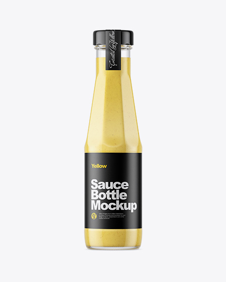 Clear Glass Bottle with Mustard Sauce Mockup