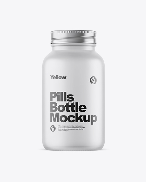Empty Frosted Glass Pills Bottle Mockup