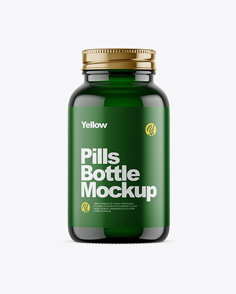Empty Dark Green Glass Pills Bottle Mockup