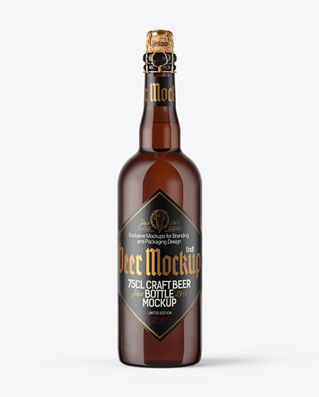 750ml Amber Craft Beer Bottle Mockup