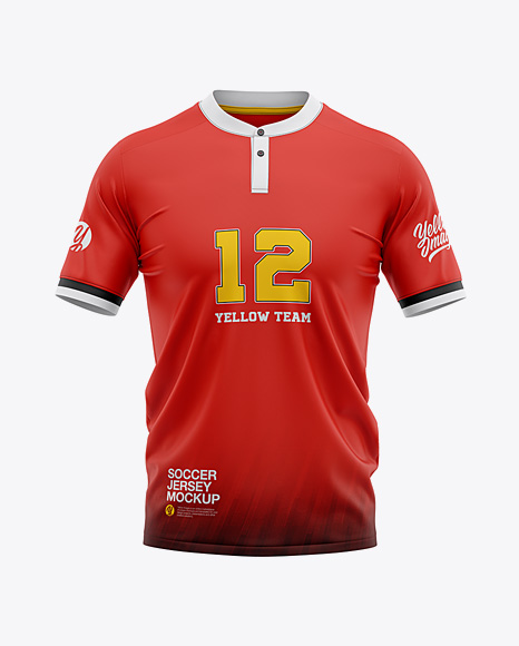 Men's Soccer Henley Collar Jersey Mockup - Front View