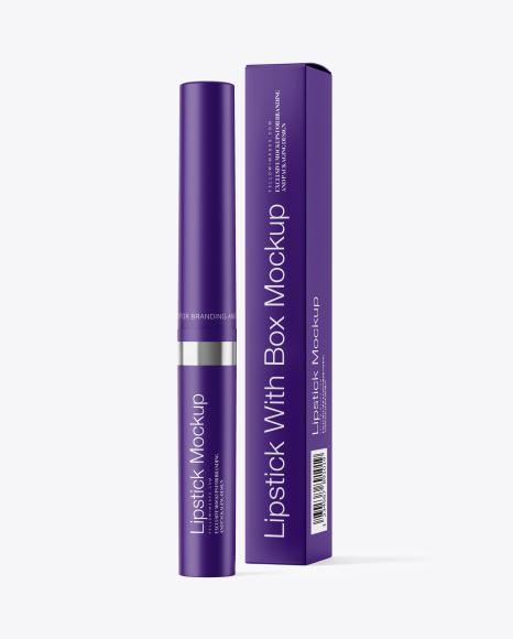 Matte Lipstick with Box Mockup