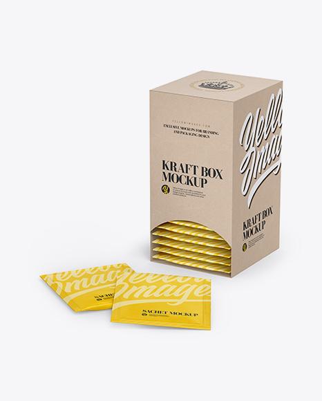 Kraft Box W/ Sachets Mockup