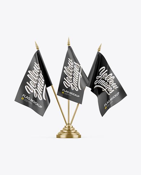 Metallic Desk Flags Mockup