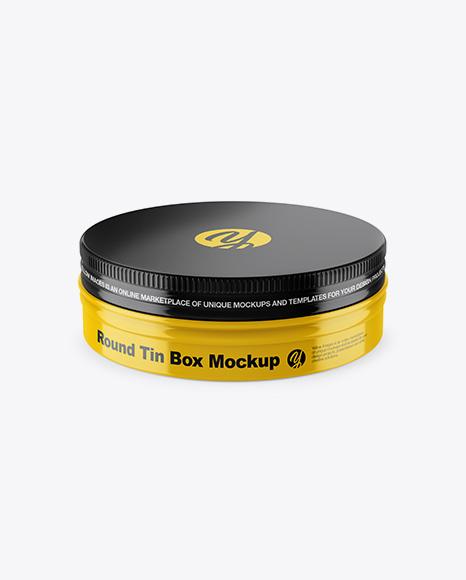 Glossy Round Tin Box Mockup